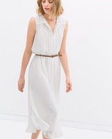 2014  Brand New Fashion Girl / Women's White color Fairy Chiffon One piece Dress Long Beach Dresses SML with Belt
