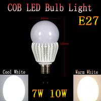 50pcs/lot brightness lighting COB led bulb light lamp High  7W 10W E27  Cold white/warm white Free shipping