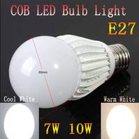 100pcs/lot Quality Assurance E27 220V 7w 10w COB Led Bulb E27 White Warm White Energy Saving Led Light Lamps Led Spotlight Lamps