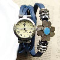 Wholesale 100pcs Genuine Cow Leather Strape Analog Watch Fashion Vintage Sunflower Wristwatches Women Ladies DHL free shipping
