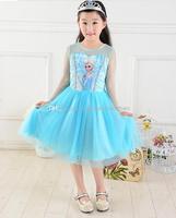 Wholesale - Fashion New Girls Frozen Dress Children Frozen Princess Dress Children Cartoon Dress