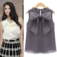 Plus Size 2014 New Fashion Summer Women's White Chiffon organza Bow Blouses for Women Sleeveless Sweet Blouse Tops Free Shipping