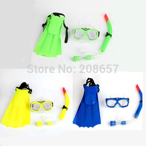 New Kid Children Swim Equipment Snorkel/Fins Flippers Goggles Diving Swim Scuba Mask Blue/Yellow/Green Color(China (Mainland))