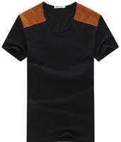 free shipping men's slim patchwork t-shirt , 2014 summer quality men's t shirt 18