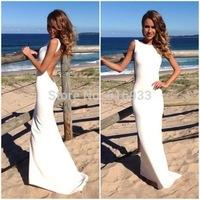 white Open Back Mermaid Evening Dresses 2014 High collar sleeveless Fashion long prom dresses BO3400