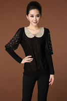 So beautiful ! Good quality ! 2014 spring new fertilizer to increase women lace long-sleeved t-shirt