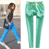 2014 thin cotton blending high quality color block casual pants skinny pants ol mid waist plus size available