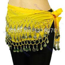 """M112 """" gasa 3 Fila Danza del Vientre Hip bufanda de la moneda de la correa de la falda de Ye(China (Mainland))"""