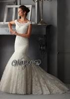 HL-WD3414 Wonderful Fully Lace Appliqued on Silky Organza Handwork Beaded Mermaid Wedding Dress Elegant Design