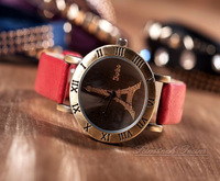 2014 Hot Sale Free Shipping Women Dress High Quality Vintage Watch Eiffel Tower Dial Design Genuine Leather Wristwatch