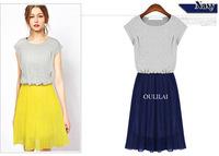 2014 Hot Sell Korean Solid Charming Dress Short Sleeve Draped Bohemian Knee-length Dresses S XXL Women's Clothing DRESS-2513302