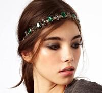 holesale retail charming Fshion green gems stone handmade Elastic headband party hari accessories