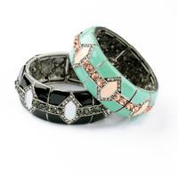 Newest 2014 Fashion Jewelry Handed Vintage Enamel Glass Stone Elastic Charm Bangle