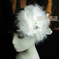 white feather hair clip Bridal feather Fascinator,Feather Fascinator Peacock Feather headpiece hair piece