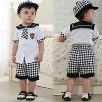plaid  tie newborn brand boy clothing set retail new arrive  100% cotton shirt  summer baby clothes sales brand sport suit