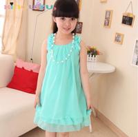 Free Shipping Children's clothing Summer 2014 Girls vest chiffon one-piece Dress Girl princess suspender Dress Kids Dress