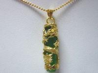 Natural Dragon Totem Cylinder Green JADE 18KGP Women Men Pendant Necklaces Chain