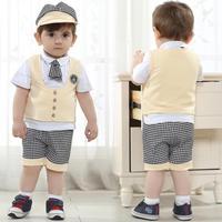 retail baby boy clothing set  2014  cotton shortsleeve shirt   children sport suit baby boy jacket knitting pattern