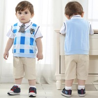 brand baby & kids clothes sets high quality  plaid shirt+trousers+tie  baby boy 3 pieces newborn crochet outfits infant clothing
