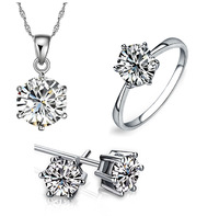 2014 new design cheap zircon jewelry set for women white gold plated