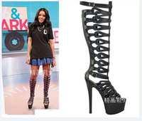 2014 new arrive platform 16cm heels design cuts-out black leather summer high heel sandals knee boots for women