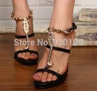 sexy narrow band high heels roman sandals women gold metal scorpion platform sandals 2014!