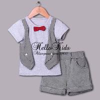 New 2014 Boys Gentleman Clothing Set 2 Pcs Cotton T Shirt With Vest Bow And Grey Pants Child Apparel Children Wear Kids Clothes
