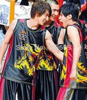 Free Ship 2014 Fashion Basketball Uniforms War/Fire Wolf Print Youth Sport Jerseys Men Summer Crazy Ball Uniform 1 Set