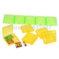 5 Pcs/Set Plastic AA 4 Cell Battery Holder Hard Storage Case Battery Storage Box
