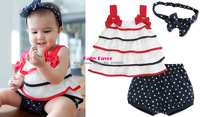 1 Set Bebe Infantil Baby Girls Kids Clothing Sets Suits Clothes Headbands+Skirt+Pants Short Trousers Cake Stripes Star Wholesale