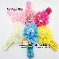 Sunshine store #8N0035 10pcs/lot (6 colors) Infant Baby Newborn Double Rose Flower Elastic Girls Headband Children Accessories