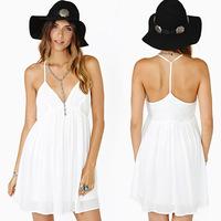GOOD FABRIC 2014 Nasty gal sexy deep V-neck T- halter white midi dress solid color slip dress white women casual dress summer
