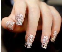 3D White Transparent Lace Nails Rhinestone Decals Nail Art Stickers 12 Desgins 5sheets French Full cover Patch Wraps Tips tools