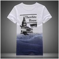 Summer 2014 men's short sleeve t-shirt men short sleeve t -shirt men Korean fashion tide compassionate gradient 8211