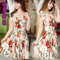 Summer 2014 milk, silk short-sleeve V-neck slim print one-piece dress women's medium-long beach skirt