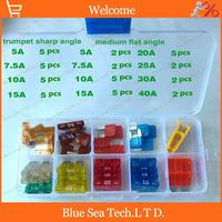1 sets Original 4S stores 5A-40A Auto fuse Kit with transparent box,car fuses sets,automobile fuses for VW Car