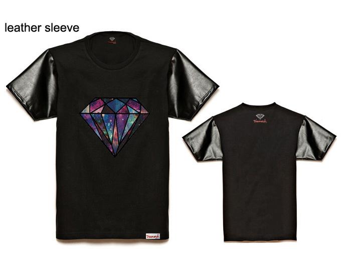 Diamond Supply co Brand hip hop man t-shirt brand design leather sleeve tshirts hot sale Diamond logo print tee shirts cheap(China (Mainland))