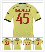 14/15 AC Milan 3RD Yellow Jerseys KAKA Balotelli Robinho Honda EI Shaarawy MONTOLIVO PAZZINI 2014 soccer uniforms