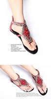 bohemian lady beading  sandal  flat heel flip flops women rome summer  comfort  casual shoe red black blue white Free shipping