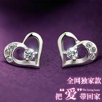 925 pure silver stud earring female elegant fashion crystal anti-allergic