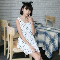 new 2014 women summer beach dress floral casual white dot princess elastic waist suspenders SZD-8456