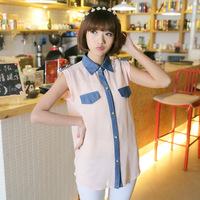 women summer top 2014 chiffon blouse100% square collar jeans short chiffon shirt  pockets fashion tops SZD-8450