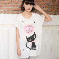 high quality new 2014 women t-shirt fashion cat shirt  modal cartoon floral print batwing sleeve big size ladies tops SZD- 7009