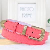 Vintage multi-color genuine leather wide belt female all-match fashion pigskin Women strap brief pin buckle pocket