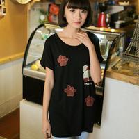 new 2014 lady summer short-sleeve o neck tops batwing long tees modal big size wintersweet footprint women t-shirt SZD- 7007