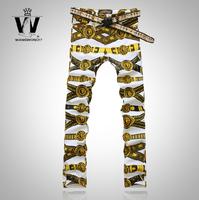 2014 New  Men'S Slim Nightclub Scene Painting Jeans Printing Pants Men'S Hairdresser Design Denim Trousers Brand Jeans XG-098
