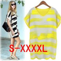 fashion cool summer girl dress,   fresh color stripe one-piece all-match loose plus size dress S, M, L, XL, XXL, XXXL, XXXXL