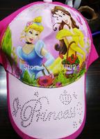 50pcs/lot ! 2014 fashion princess cap cartoon visors for Girls kids sun hat A3290 on Sale Free Shipping