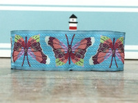 "2014 NEW  wholesale 1-1/2""  38mm 10yards/sets 100% Polyester Woven Jacquard Ribbon Colorful Blue butterfly HANDMADE lace"