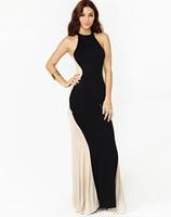 2014 ladies fashion halter neck patchwork sexy party dresses Maxi long One piece Dress vestidos casual summer dress sundress